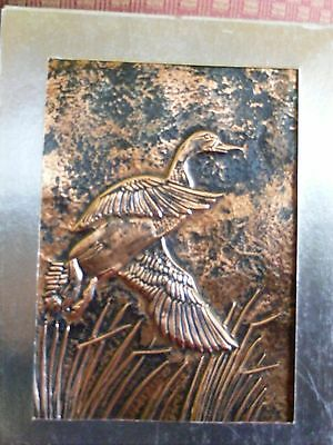 """Hand Hammered Copper 3D """"Goose in Flight"""" Matted & Framed Picture Wall Art"""