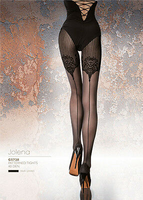 Fiore JOLENA Patterned tights 40 DEN Black Pantyhose