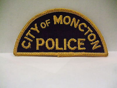 police patch  MONCTON POLICE NEW BRUNSWICK CANADA  GOLD HALF MOON STYLE