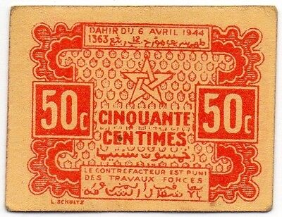 Morocco (Empire Cherifien) 50 Centimes 1944 Emergency Issue (P-41)