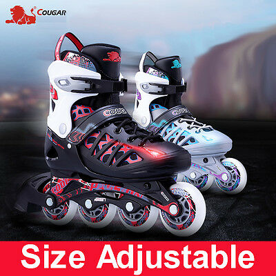 SIZE ADJUSTABLE INLINE SKATES ROLLER BLADERS -3 Colors are Available -FREE GIFTS