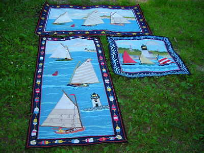 Set Of 3 Wool Hand Hooked Claire Murray Rugs Sailboat Motif