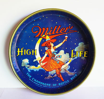 Vintage Miller Beer Highlight Tray USA Lady on the Moon Clean