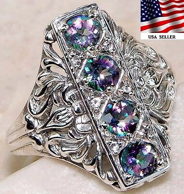 2CT Color Changing Rainbow Topaz 925 Sterling Silver Filigree Ring jewelry Sz 7