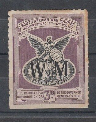 SOUTH AFRICA 1917 3d. WAR MARKET CINDERELLA LABEL (ID:877/D46134)