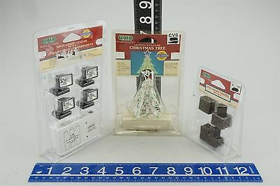 LOT of 3 Lemax Collectibles Lighted Christmas Tree, Clear Spot Light, Crates