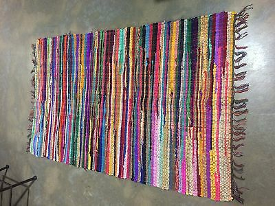 New Recycled 90x150cm Cotton Boho Hand Woven Rag Rug**Free Delivery**