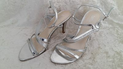 LADIES SHOES BETTS SILVER STRAPPY SANDALS Size 7