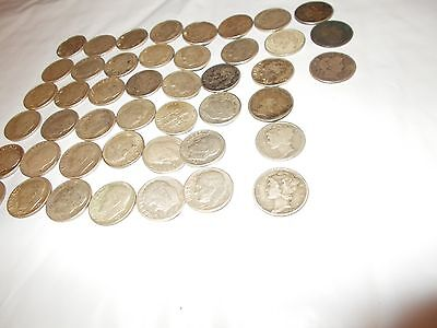 Roosevelt dimes, Barber dimes and mercury dimes  total 45 coins