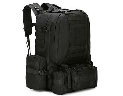 55L Black Molle Outdoor Military Tactical Bag Camping Hiking Trekking Backpack