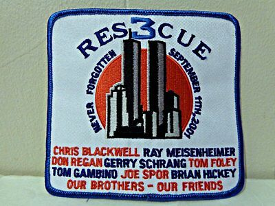 Res3Cue Fdny Never Forgotten Patch Rescue 3 September 11Th 2001