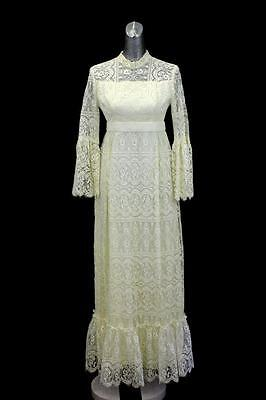 womens ivory VINTAGE WEDDING DRESS gown lace long sleeve high neck beaded SMALL
