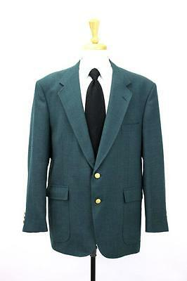 mens green STAFFORD blazer jacket sport coat gold buttons country club XL 46 R