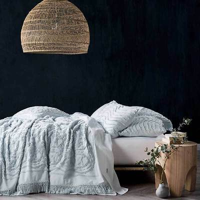 NEW Linen House Somers Blue Cotton Queen King Coverlet Bed Cover Throw