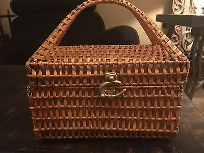 Vintage 1960s RODO Woven Natural Straw Box/Bag/Purse Leather-Lined Made Italy
