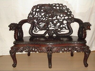 Antique Chinese Carved Wood Bench Loveseat
