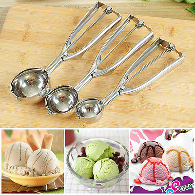 3 Size 4/5/6cm Ice Cream Spoon Stainless Steel Spring Handle Masher Cookie Scoop