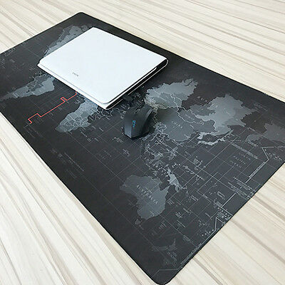Non-Slip Large World Map Gaming Mouse Pad Mat Mousepad for Laptop PC Game Black