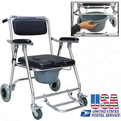Aluminum Transport Bedside Commode Mobile Toilet Bathroom Chair Disability Aid