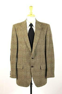 mens brown plaid BOTANY 500 blazer jacket sport coat tweed elbow patches 42 L