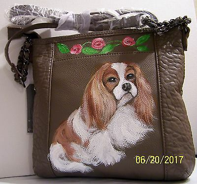 Cavalier King Charles Spaniel hand painted genuine leather cross body bag