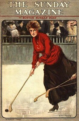 1905 Hockey Ice Skating Sporting College Woman Fashion Art Cover Poster 318747
