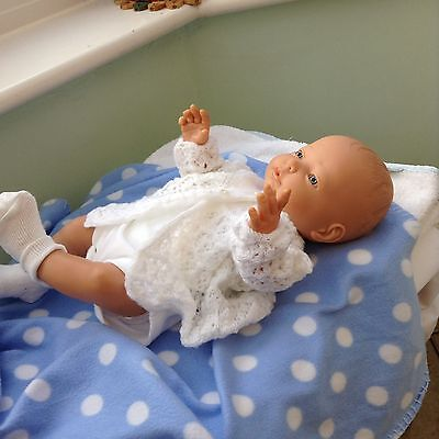 "Newborn Baby Boy Drink And Wet Doll 18"" With Clothes And Accessories EYFS"