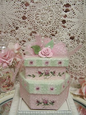 Shabby ~ Pink ~ Clay Rose ~Pearls ~Christmas ~Glittered ~ Nesting Box ~ Ornament