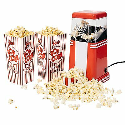 4YourHome 1200W Red & White 1950's Retro Style Hot Air Popcorn Maker for Fresh,