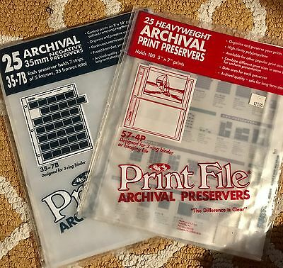 Print File Archival 35mm Negative & Heavyweight 5 X 7 Print Sleeves SEE DETAILS