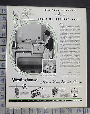 1931 Westinghouse Housewife Cook Kitchen Home Decor Vintage Art Ad Dn18