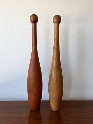 "Antique Vintage Wooden Juggling Exercise Primitive Pins Clubs Circus 16"" Pair"