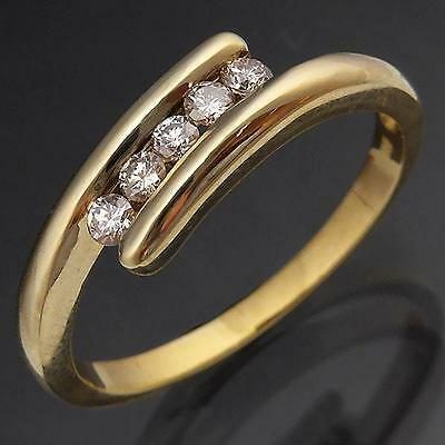 Lively 5 Champagne DIAMOND 9k Solid Yellow GOLD BY- PASS ETERNITY RING Sz P1/2