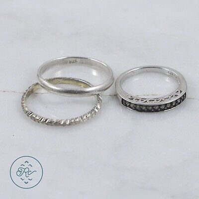 Sterling Silver | (QTY 3) Chocolate Diamond Engagement Band Rings 5.6g | Lot