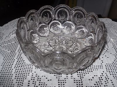 Vintage L.e. Smith Moon And Stars Clear Bowl Center Piece Bowl 8 In