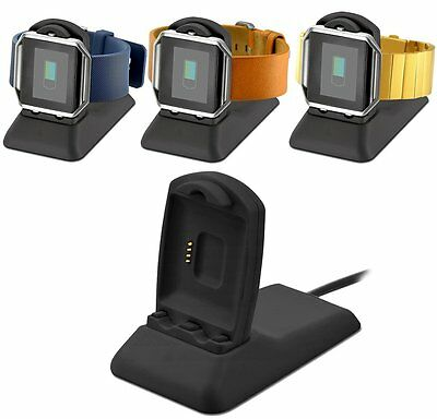 Charging Stand Dock USB Cable Cradle Adapter for Fitbit Blaze Black Smart Watch