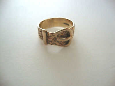 Vintage 9ct Gold Buckle Ring - Size S 4.9g