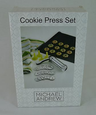 Michael Andrew Cookie Press Set Brand New in Box Stainless Steel w/ 20 Designs!
