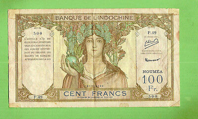 #d286. 1953 Type  New  Caledonia  100 Francs  Banknote P.49 500, Large