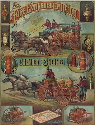 Antique Hand Fire Extinguisher Poster 1800s Ad Firefighter Fireman Print 1592