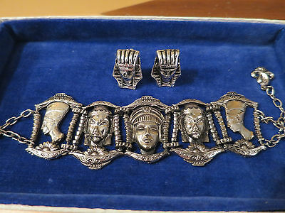 VINTAGE 1950's EGYPTIAN BRACELET AND CLIP ON EARRINGS, NICE QUALITY