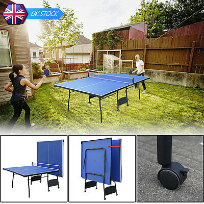 HLC 9ft Professional Folding Table Tennis Table Blue Ping Pang Table with Wheels