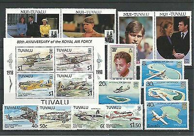 10.917/ Lot / Mixture ** MNH Tuvalu mit Flugzeug Aircraft + Block