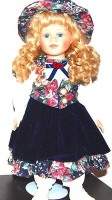 Beautiful Porcelain Doll for Collectors- Brown Hair and Blue Floral Dress