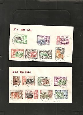 Dominica 1951 Set on 2 First Day Covers