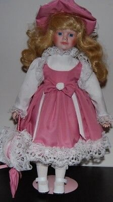 Beautiful Porcelain Doll for Collectors- Blonde Hair and Pink Dress