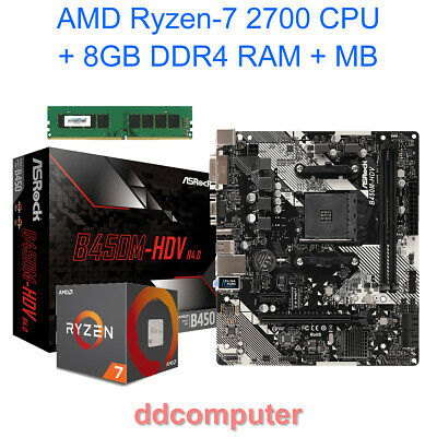 AMD Ryzen-7 1700 Eight Core CPU, AM4 Motherboard, 8GB RAM Combo for Desktop PC