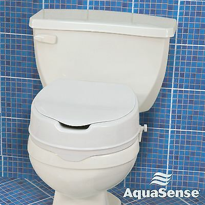 Elevated Toilet Seat w/ Lid 4'' Raised Bathroom Safety Seat 300 Lbs. Capacity