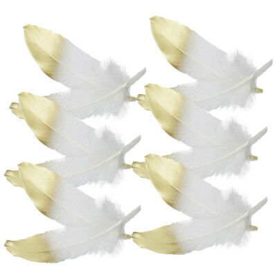 12x Natural Goose Feather Millinery DIY Party Home Decor 15-20cm White Gold