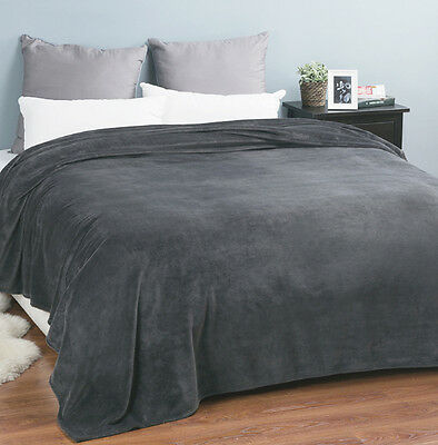 CHARCOAL Super Soft Super Plush Blanket Queen King Size 240x260cm New